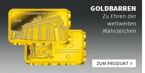 Internationale Wahrzeichen auf Goldbarren