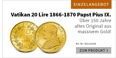 Vatikan 20 Lire Pius IX
