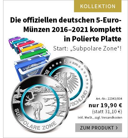 Die offiziellen deutschen 5-Euro-Münzen 2016–2021 komplett in Polierte Platte