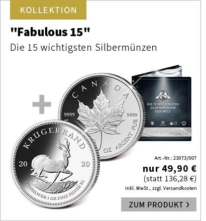 2 Münzen zum Preis von 1: ''Fabulous 15'' – die 15 wichtigsten Silbermünzen