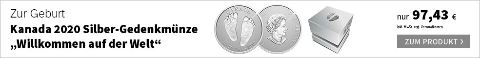 """Kanada 2020 Silber-Gedenkmünze """"Willkommen auf der Welt"""""""